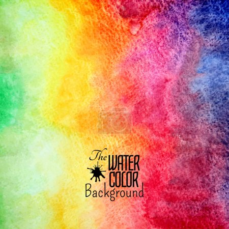 Illustration for Abstract vector hand drawn rainbow color watercolor background, stain colors on wet paper - Royalty Free Image