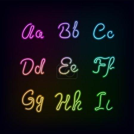Neon rainbow color glow alphabet.