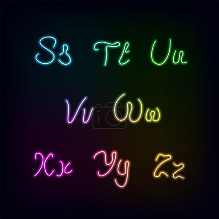 Неоновые цвета радуги свечение алфавит