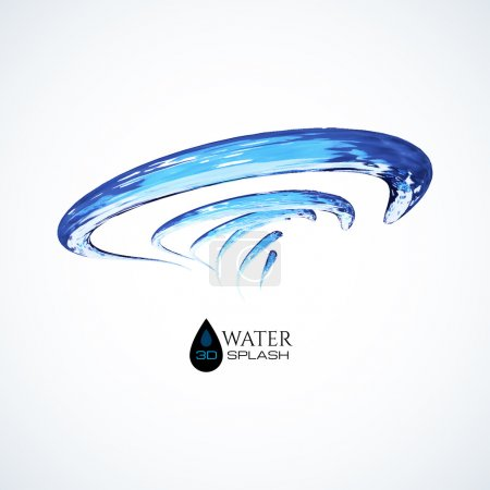 Illustration for Blue 3D water splash isolated on white, vector background - Royalty Free Image