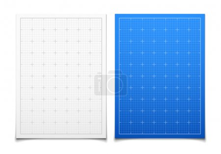 Illustration for White and blue isolated square grid set with shadow backdrop vector background illustration - Royalty Free Image