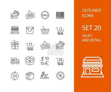 Ilustración de Contorno iconos delgado diseño plano, estilo de trazo de línea moderna, web y elemento de diseño móvil, objetos y vector ilustración iconos conjunto 20 - ventas por menor colección - Imagen libre de derechos