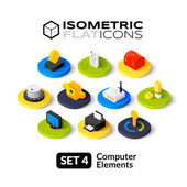 Isometric flat icons 3D pictograms vector set - computer symbol collection