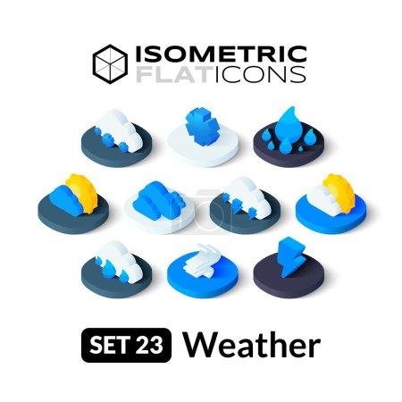 Illustration pour Isométriques icônes plates, jeu de vecteurs pictogrammes 3D - Collection de symboles météorologiques - image libre de droit