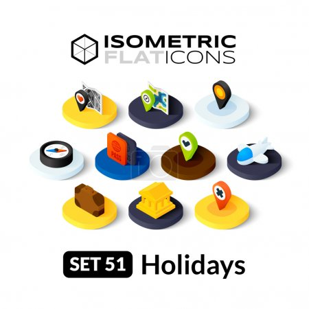 Illustration for Isometric flat icons, 3D pictograms vector set - Holidays symbol collection - Royalty Free Image