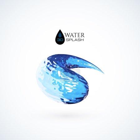Blue 3D water splash