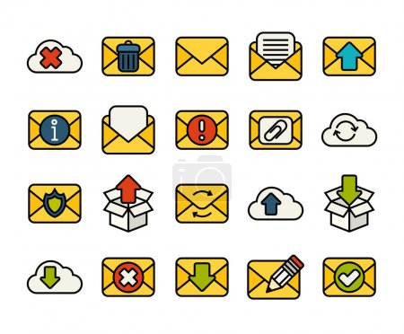 Illustration for Outline icons thin flat design, modern line stroke style, web and mobile design element, objects and vector illustration icons set - mail and cloud collection - Royalty Free Image
