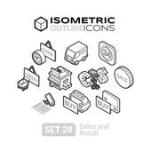 Isometric outline icons 3D pictograms vector set - Sales and retail symbol collection