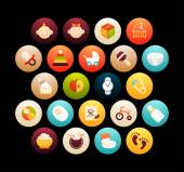 Flat icons set - baby and childhood for phone watch or tablet isolated on black background