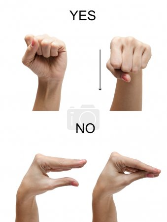Photo pour Signe de main de femme non oui Asl LSQ - image libre de droit
