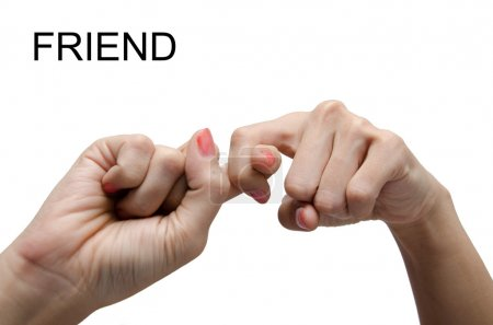 Photo pour Signe de main de femme ami Asl American sign language - image libre de droit