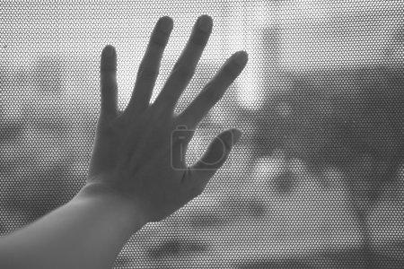 Woman hand on the window...