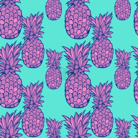 Illustration pour Magnifique motif d'ananas graphique - vecteur - image libre de droit
