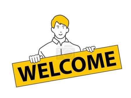 Illustration pour Illustration personnes tenant un tableau de bienvenue pour accueillir un nouvel employé. nouveau concept de membre, mots de bienvenue. design plat. peut être utilisé pour les éléments, pages de destination, interface utilisateur. - image libre de droit