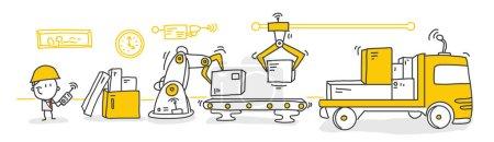 Illustration pour Illustration vectorielle, une ligne de production avec les travailleurs, l'automatisation et le concept d'interface utilisateur : l'utilisateur se connecte avec une télécommande et partage de données avec un système cyber-physique, Smart Industry 4.0 - image libre de droit