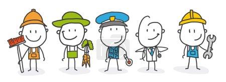 Photo pour Fête du Travail. Un groupe de personnes de différentes professions sur fond blanc. Illustration vectorielle dans un style plat - image libre de droit