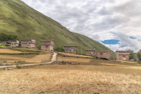Photo for The view of traditional old small tibetan remote village and family house on Tibet - Royalty Free Image