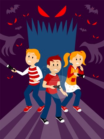 Illustration for A clipart of three kids, 1 girl and 2 boys holding  flashlights, looking so scared, but trying to be brave, entering a dark horrifying haunted house  looking for something they need to find - Royalty Free Image