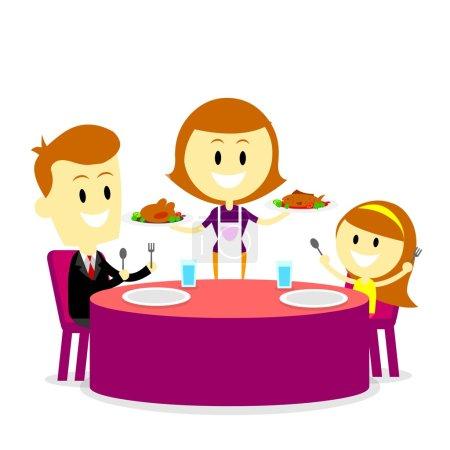 Illustration pour Une maman servant des repas pour son mari et sa fille (dans le style Flat Cartoon ) - image libre de droit