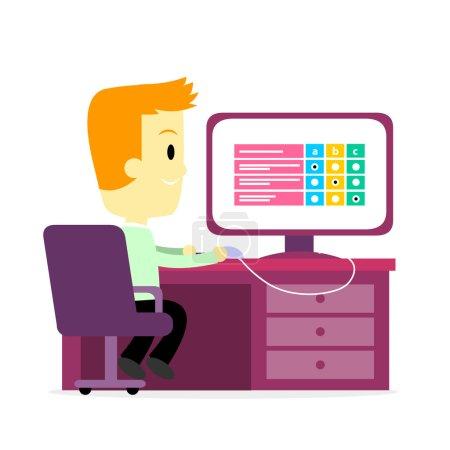 Illustration pour Un homme répondant à un questionnaire numérique sur l'emploi / Questionnaire / Test / Enquête sur un écran d'ordinateur (dans le style de bande dessinée plate ) - image libre de droit