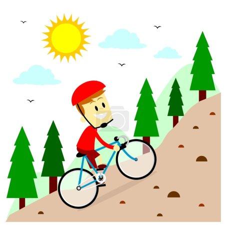 Illustration pour Un homme fait du vélo de montagne (dans le style de dessin animé plat ) - image libre de droit