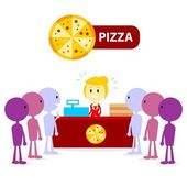 A Pizza Counter Girl Got long queue Customers in line to Serve  (in Flat Cartoon Style)