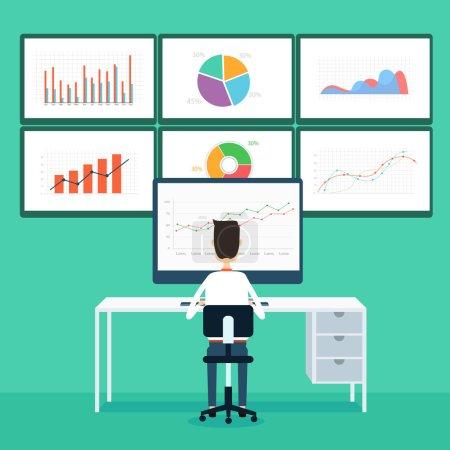 Vector businessman on line communication connection business