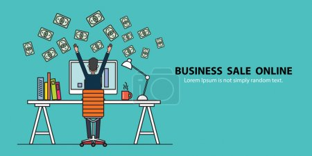 Illustration for Banner business people earning for sale on line concept - Royalty Free Image