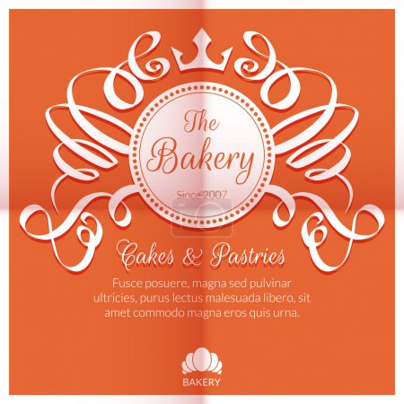 Retro card with bakery logo label