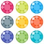 Flat icons set. Nine round precious gems...