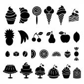 Sweet baked food and fruit silhouettes