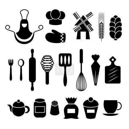 Illustration for Baking kitchen tools silhouettes set isolated on white background - Royalty Free Image