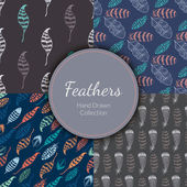 Seamless Patterns Set with Feathers
