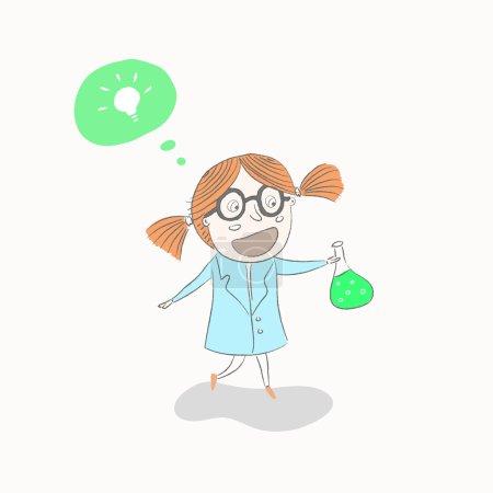 Scientist little girl, vector illustration