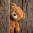 Cute teddy bears with old wood background...