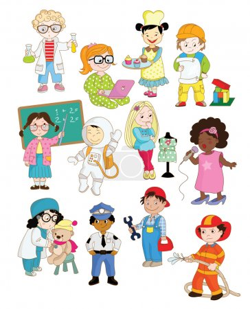 toddlers of different professions