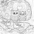 Coloring page of two little owls in love that sit on a tree and look at each other. A full page coloring sheet that is entertaining and fun for both children and grown ups.