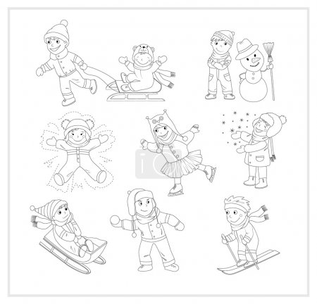 Illustration for This is a black and white version of the cartoon characters set. It includes 9 images of kids enjoying winter, snow and having fun. - Royalty Free Image