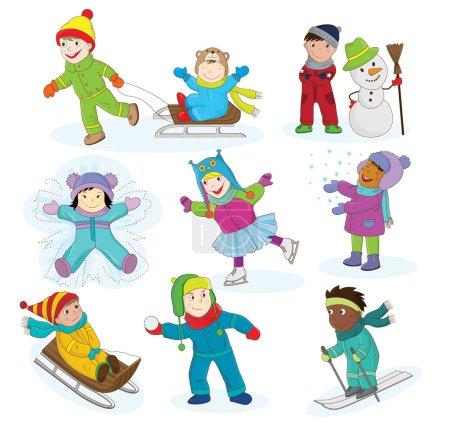 Happy children having winter fun