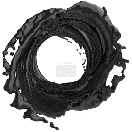 schwarzer Farbspritzer auf weißem Hintergrund.