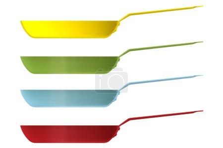 Photo pour Façonner les casseroles vides en les coupant sur un fond propre. Demi-casseroles de vue de face. Blank pour afficher des recettes et de la nourriture. Illustration 3d . - image libre de droit