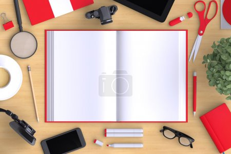 Open book with office objects and blank modern devices.