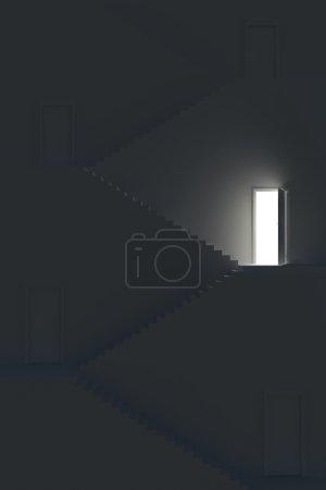 Photo pour Escalier sombre avec planchers et portes. Illustration 3d . - image libre de droit