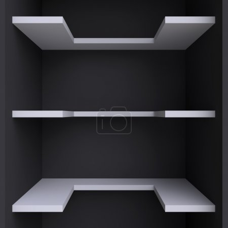 Three shelves on the wall.