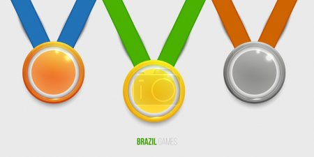 Illustration for Three medals, Gold, Silver and bronze with color ribbons for the winners. - Royalty Free Image