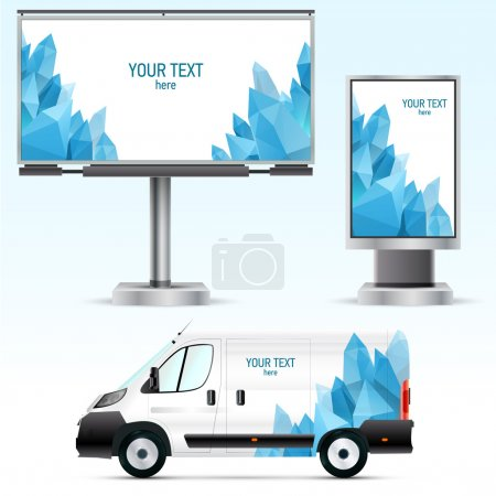 Template outdoor advertising or corporate identity on the car, billboard and citylight