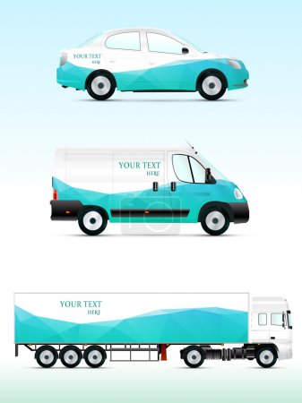 Illustration for Template vehicle for advertising, branding or business. Passenger car, truck, bus. - Royalty Free Image