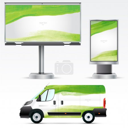 Illustration for Template outdoor advertising or corporate identity on car, billboard and citylight. For business, branding and advertising companies. - Royalty Free Image