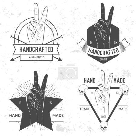 Illustration pour Insigne vintage rétro, symbole ou logotype à la main. Pour éléments de design, enseignes commerciales, logos, identité, étiquettes, badges et objets . - image libre de droit