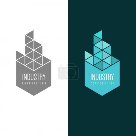 Illustration for Logo inspiration for construction companies, real estate agencies or architectural companies. Vector Illustration, graphic elements editable for design. - Royalty Free Image